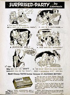 Kraft cheese ad, 1949 Vintage Advertisements, Cheese, How To Make, Vintage Ads