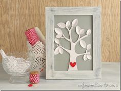 DIY: tutorial + video, die-cutting, home decor shabby chic, frame, three; cornice quadretto con albero
