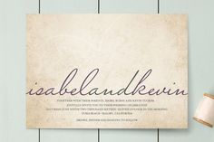 Simple.  Light Hearted Wedding Invitations by roxy at minted.com