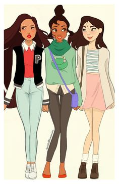 Pocahontas, Tiana, and Mulan modern-day. my fav is Mulan Disney Pixar, Tiana Disney, Walt Disney, Disney Fan Art, Cute Disney, Disney Dream, Disney Girls, Disney And Dreamworks, Disney Animation