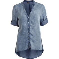 Vila Virams - Denim Shirt ($38) ❤ liked on Polyvore featuring tops, medium blue denim, vila, 3/4 sleeve tops, tall shirts, blue 3/4 sleeve shirt and tall tops