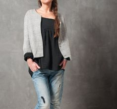 Juliette grey melange jacket with invisible opening by raori