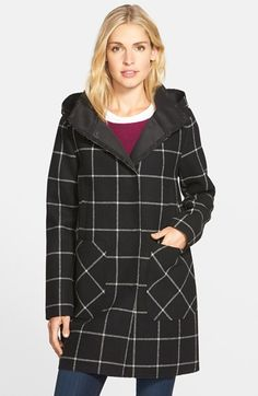 Vince+Camuto+Bonded+Windowpane+Duffle+Coat+available+at+#Nordstrom