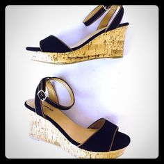 Call It Spring, black/ brown canvas/ jute wedges NIB Call it Spring,  Nissana, platform wedge sandals. Adjustable ankle strap.. Open toe.. Easy and comfortable to walk or stand in. These were shelf pulls. Box included Call It Spring Shoes Wedges