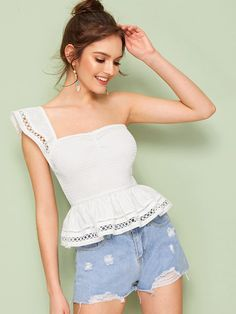 To find out about the Shirred Lace Insert One Shoulder Peplum Blouse at SHEIN, part of our latest Women Tops ready to shop online today! Crop Tops, Fashion News, Fashion Outfits, Strapless Tops, Spring Shirts, Peplum Blouse, One Shoulder Tops, Lace Insert, Vestidos