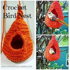 Crochet Bird Nest on Oombawka Design, links to free crochet pattern by Erangi at Crochet for you