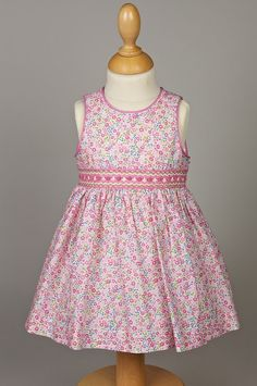 Spring / Summer smocked dress for Baby Chasuble Luminance in Liberty 100% cotton - l'île aux fées - handmade