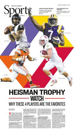 Heisman Trophy Watch: Why These 4 Players Are the Favorites|Epoch Times Pub Design, Book Design, Layout Design, Print Design, News Design, Wall Design, Sport Editorial, Editorial Layout, Editorial Design