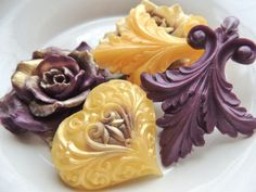 ROSE HEARTS SOAP For Mom Amethyst and Gold by thecharmingfrog, $12.00