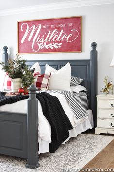 Create a Christmas master bedroom that compliments your existing room decor. Create a Christmas master bedroom that compliments your existing room decor. Decorating is all in the little details and accents! Farmhouse Bedroom Decor, Farmhouse Christmas Decor, Home Decor Bedroom, Christmas Home, Diy Home Decor, Bedroom Ideas, Winter Bedroom Decor, Bedroom Designs, Bedroom Furniture