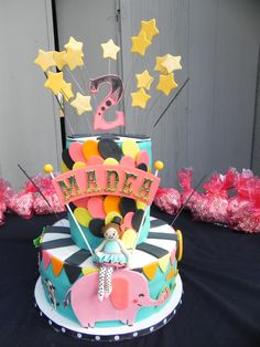 Over the Top - This is my 6th ever cake!   The idea was `being 2 is over the top!`    Made for my own girl who loves balloons, animals, tutus, and anything over the top!  But I wanted to take the design in a different direction and colour palette than the traditional circus/carnival theme.  All the animals are hand cut out of fondant.  The little ballerina ringmaster is fondant as well.