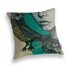 Art Cushion Cover  'Her Song' in Green by GretelGirlDraws on Etsy