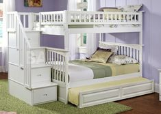 Columbia Staircase Bunk Bed Full over Full with Trundle in White | Bunk Beds AB55832/9
