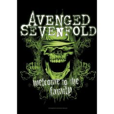 "#Bandiera ""Welcome To The Family"" degli Avenged Sevenfold con stampa."