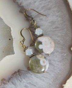 Ocean Jasper and Swarovski Crystal Earrings by TakeCourageDesigns on Etsy