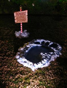 Dave Lowe created this abominable snowman footprint in his niece's front yard.