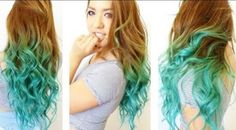 Brown hair with turquoise dip dye