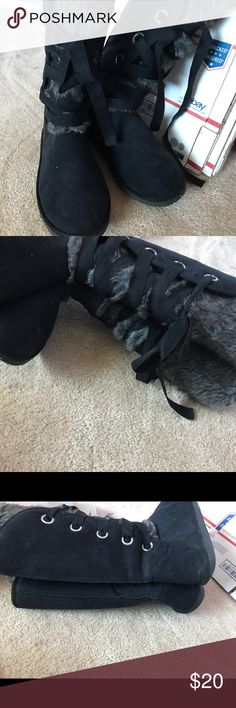 Just Fab lace up faux fur ugg like boots Sz 10 Just Fab lace up faux fur boots! Sort of like Ugg's. Size 10. The fur is all inside too (see photo with black fur). Super comfortable tall boots! JustFab Shoes