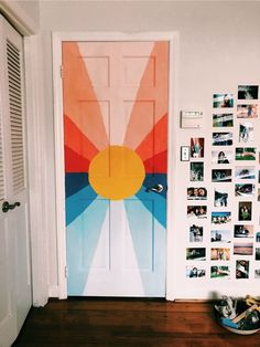 Home Decoration Ideas For Engagement Inspired by Surfaces album cover.Home Decoration Ideas For Engagement Inspired by Surfaces album cover Painted Bedroom Doors, Painted Doors, Cheap Dorm Decor, Dorm Decorations, Halloween Decorations, Cute Room Decor, Aesthetic Room Decor, Bedroom Art, Decorating Rooms