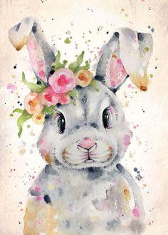 Bunny Painting, Bunny Drawing, Bunny Art, Easter Drawings, Art Drawings, Baby Animal Drawings, Watercolor Animals, Watercolor Paintings, Lapin Art