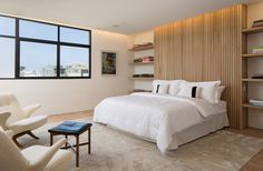 Wood detailing features in this bedroom in a home in San Francisco.
