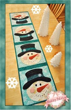 Patchwork Snowman Table Runner Pattern: What a fun way to celebrate winter! This quick and easy table runner pattern features easy patchwork and simple applique.