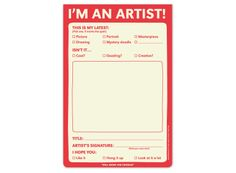 I'm an Artist Playtime Pad - Fun Notepads for Kids by Knock Knock #KnockKnockStuff  I AM SO BUYING THIS