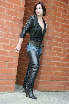 Gorgeous black thigh boots and jeans outfit #highheelbootsandjeans