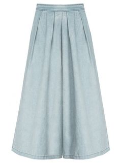 Women's Fashion Pleated Wide-Leg Denim Cropped Pants.Check more from www.oasap.com .