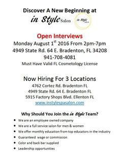 Open interviews tomorrow from - see photo for details. Please spread the word and share with your stylist friends. Cosmetology, New Beginnings, Salons, Interview, Stylists, Friends, Words, Style, Amigos