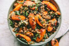 Moroccan Carrot and Lentil Salad — A Thought For Food Garlic Aioli Recipe, Roasted Garlic Aioli, Roasted Salmon, Carrot Ginger Soup, Carrot Salad, Israeli Couscous Salad, Baked Haddock, Moroccan Carrots, Green Lentils