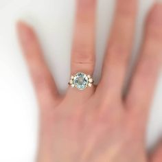 Understated Elegant 4.58ct t.w. Aquamarine & Diamond Ring 14k