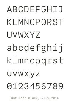 Bot Mono, a typeface family in work.