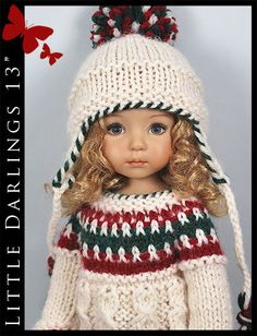"""Christmas Outfit #2 for Little Darlings Effner 13"""" by Maggie & Kate Create"""