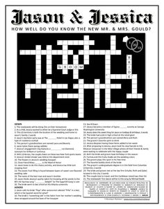Personalized Wedding Crossword Puzzle. Use as a Reception Game ...