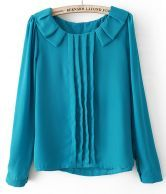 Blue Long Sleeve Pleated Chiffon Blouse $23.23  #SheInside