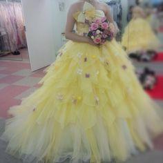 yellow flower dress♡