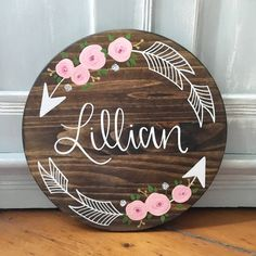 Trendy Flowers Shop Names Cute 51 Ideas Custom Wood Signs, Wooden Signs, Flower Shop Names, Baby Door Hangers, Baby Name Signs, Baby Names, Kids Wood, Baby Kind, Personalized Wedding Gifts