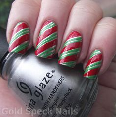 Candy Cane Christmas Nails  Base Coat: CND - Stickey  Base Colour: China Glaze - Millennium  Nail Art Pens: Red
