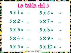 Tabla de multiplicar del 5. Ejercicios para niños