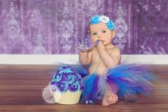 First Birthday Cake Smash - blue and purple