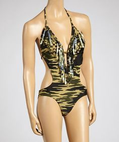 Another great find on #zulily! Green Camo Monokini - Women by Marina West #zulilyfinds
