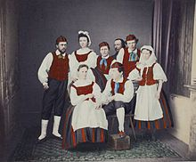 File:Finnish traditional costumes, Zacharias Topelius in the background. Finland, Costumes, Traditional, History, Poster, Pictures, Painting, Art, Jewellery