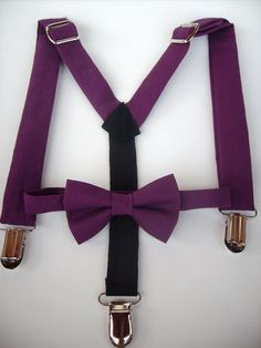 Ring Bearer bow tie and suspenders for toddler boy  solid purple by golubchick, $30.00