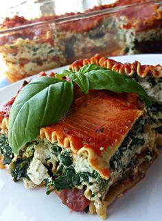 Vegan Tofu-Spinach Lasagna.... tastes just like ricotta, without harming animals. Yum!