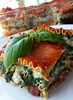 Vegan Tofu-Spinach Lasagna.... tastes just like ricotta, without harming animals. Yum!