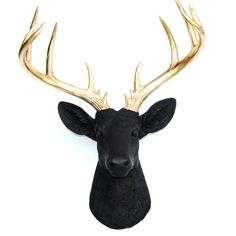 Large Deer Head - Black and Gold Deer Head Wall Mount - 14 Point Stag Head Antlers Faux Taxidermy ND1708