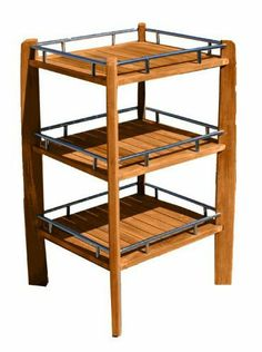 """Teak Wood Bath Shower Shelf 20.5"""" D X 18"""" W X 35"""" H by PDC Furniture. $180.00. Overall dimensions: 18"""" D x 13"""" W x 21"""" H.. Kiln dried and sanded to a smooth finish. Wood is naturally honey-colored and unsealed. If used outdoors it will weather to a silver-gray.. Shelf features 3 stainless steel-bordered shelves. Made of natural teak wood. Bathroom Organization, Bathroom Storage, Kitchen Storage, Wood Bath, Shower Shelves, Bath Shower, Teak Wood, Home Kitchens, Wood Shelf"""