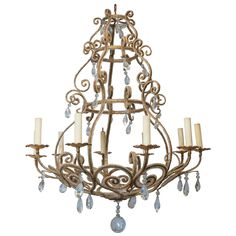 1940s Venetian Style Ten-Light Beaded Chandelier | From a unique collection of antique and modern chandeliers and pendants  at https://www.1stdibs.com/furniture/lighting/chandeliers-pendant-lights/