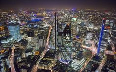 The City of London, showing the Gherkin, The Leadenhall Building, Heron Tower, far right, and 20 Fenchurch, far left..